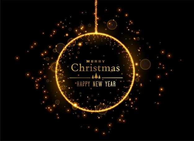 Bola brilhante de natal feita com brilhos dourados