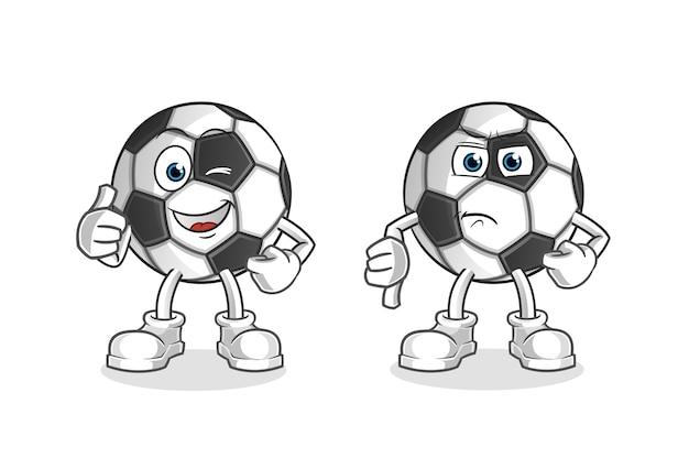 Bola com os polegares para cima e para baixo mascote dos desenhos animados