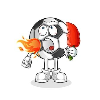 Bola come ilustração do mascote da pimenta quente