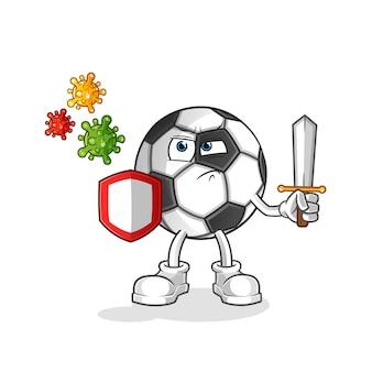 Bola contra vírus ilustração dos desenhos animados