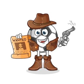 Bola cowboy segurando arma e personagem de ilustração de cartaz de procurado
