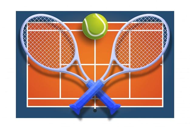 Bola cruzada da raquete do clube de tênis na ilustração de competição do jogo de quadra laranja