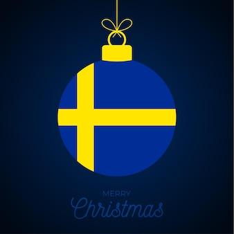 Bola de ano novo de natal com bandeira da suécia. ilustração em vetor cartão. bola de feliz natal com bandeira isolada no fundo branco