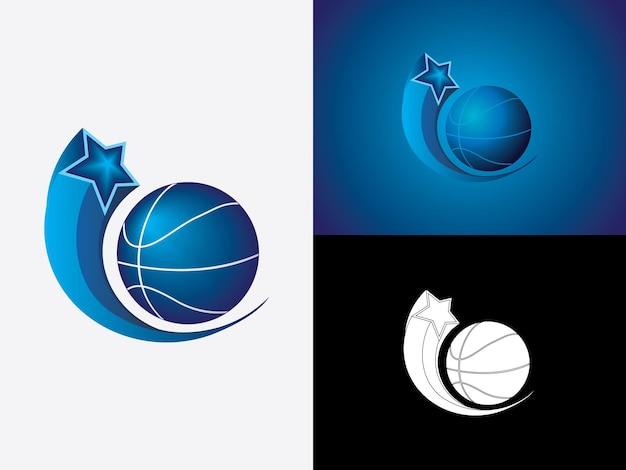 Bola de basquete com estrela de vetor de logotipo simples minimalista moderno