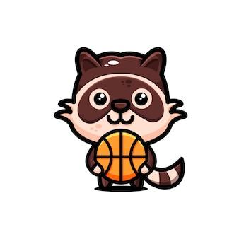 Bola de basquete com tema de desenho de personagem de guaxinins fofos