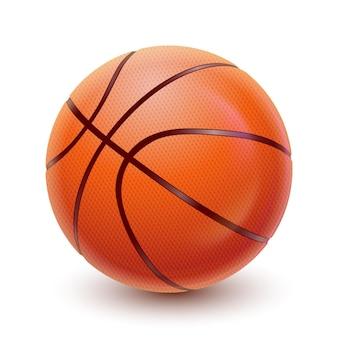 Bola de basquete de vetor realista equipamento esportivo detalhado com textura e sombra