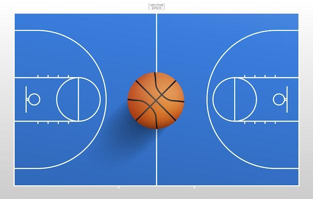 Bola de basquete e fundo de campo de basquete