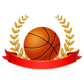Bola de basquete e ilustração de coroa de louro