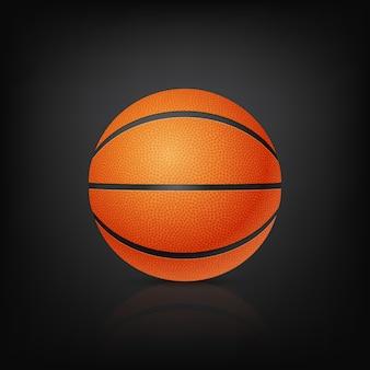 Bola de basquete em vista frontal em um fundo preto