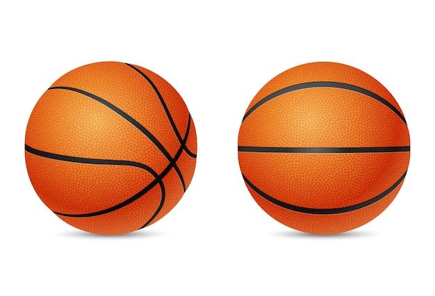 Bola de basquete, vista frontal e de meia volta, isolada no fundo branco.