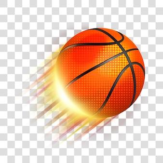 Bola de basquete voando. eps 10 editável, gradientes com transparência. fácil de colocar em qualquer plano de fundo.