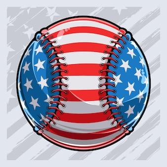 Bola de beisebol com padrão de bandeira americana dia dos veteranos do dia da independência, dia 4 de julho e dia do memorial