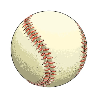 Bola de beisebol de esboço mão desenhada na cor, isolada no branco
