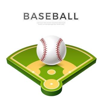 Bola de beisebol realista em playground verde