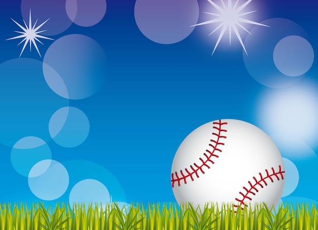 Bola de beisebol sobre grama e céu ilustração vetorial de fundo