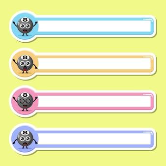 Bola de bilhar etiqueta nome tag mascote personagem fofa