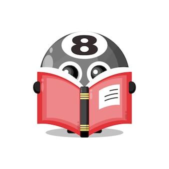 Bola de bilhar lendo um livro mascote do personagem fofo