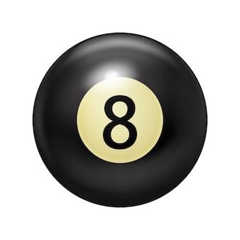 Bola de bilhar preta com o número oito. jogo de piscina.