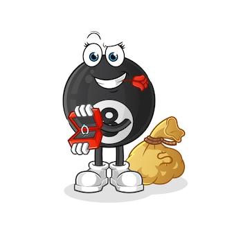 Bola de bilhar propor e segurando o mascote do personagem do ringue