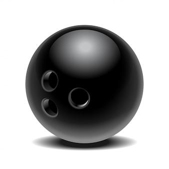 Bola de boliche brilhante preta sobre fundo branco. ilustração