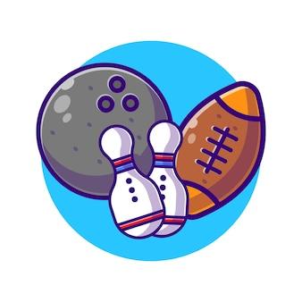 Bola de boliche com alfinetes e bola de rugby plana.