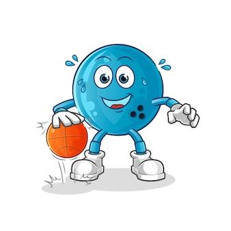 Bola de boliche driblar o personagem de basquete. mascote dos desenhos animados