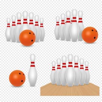 Bola de boliche e skittles vector ilustração realista