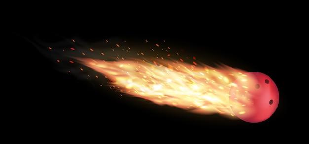 Bola de boliche, queimando em um fundo preto