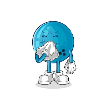 Bola de boliche soprando o nariz personagem. mascote dos desenhos animados