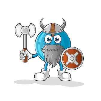Bola de boliche viking com uma ilustração de machado. personagem
