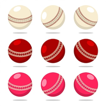 Bola de críquete em cores diferentes. conjunto de equipamentos de esporte dos desenhos animados isolado em um fundo branco.