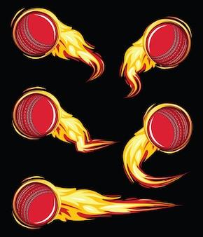Bola de críquete no conjunto de velocidade de símbolos de fogo