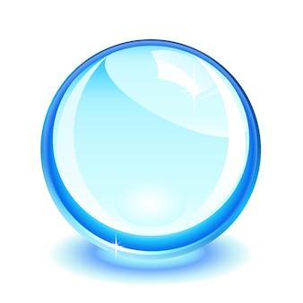 Bola de cristal azul sobre branco