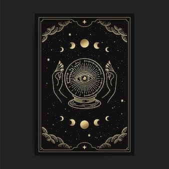 Bola de cristal com um olho brilhante, segurada por duas mãos em uma carta de tarô, decorada com nuvens douradas, circulação lunar, espaço sideral e muitas estrelas