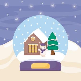 Bola de cristal com urso polar e casa da família