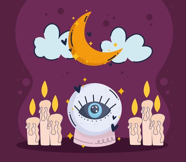 Bola de cristal com velas mágicas