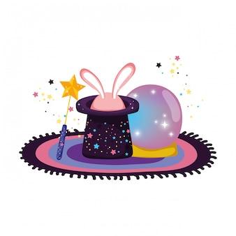 Bola de cristal de conto de fadas com coelho de chapéu e orelhas