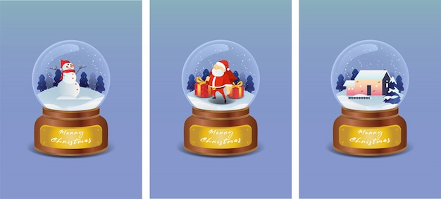 Bola de cristal de natal com boneco de neve, papai noel e casa na paisagem de inverno