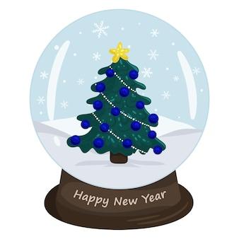 Bola de cristal de natal com paisagem de inverno e árvore de natal. fundo branco da ilustração isolado do vetor no estilo cartoon.