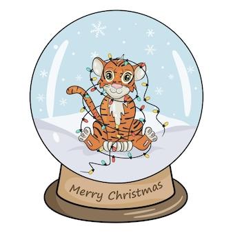 Bola de cristal de natal com paisagem de inverno, tigre com guirlanda colorida. fundo branco da ilustração isolado do vetor no estilo cartoon.