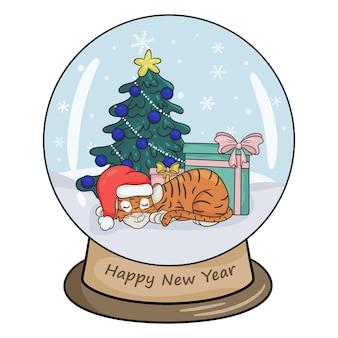Bola de cristal de natal com paisagem de inverno, tigre com presentes dormindo perto da árvore de natal. fundo branco da ilustração isolado do vetor no estilo cartoon.