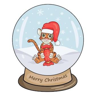 Bola de cristal de natal com paisagem de inverno, tigre e doces grandes. fundo branco da ilustração isolado do vetor no estilo cartoon.