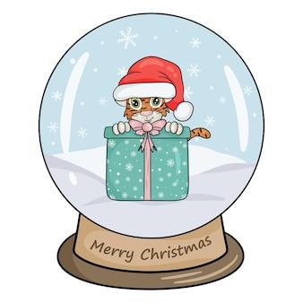 Bola de cristal de natal com paisagem de inverno, tigre e presente. fundo branco isolado da ilustração vetorial estilo dos desenhos animados.