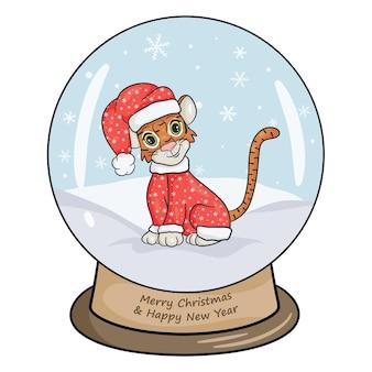 Bola de cristal de natal com paisagem de inverno, um tigre fantasiado de ano novo. fundo branco da ilustração isolado do vetor no estilo cartoon.