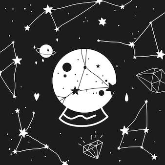 Bola de cristal e constelações. preto e branco. ilustração moderna da esfera mágica e constelações. quiromancia e conceito mágico.