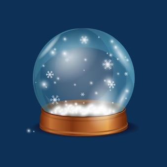 Bola de cristal neve em fundo azul esfera de vidro com flocos de neve
