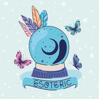 Bola de cristal, penas, borboletas e letras esotéricas em um desenho de ilustração de fita