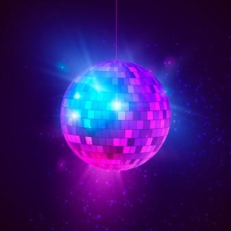 Bola de discoteca com raios brilhantes e bokeh. fundo de festa de música e dança à noite. ilustração abstrata do fundo retrô do clube noturno