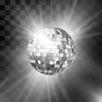 Bola de discoteca com raios brilhantes e bokeh. fundo retrô dos anos 80 do clube noturno.