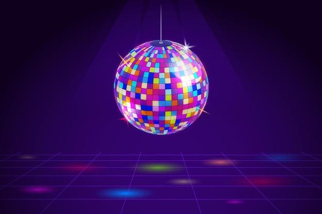 Bola de discoteca gradiente colorida Vetor grátis